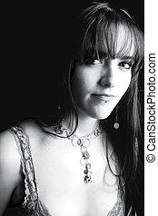 modelo, -, negro y blanco, retrato