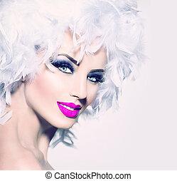 modelo, niña, con, blanco, plumas, peinado