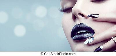 modelo, niña, con, gótico, negro, maquillaje, y, manicura