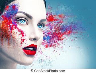 modelo, niña, retrato, con, colorido, polvo, maquillaje