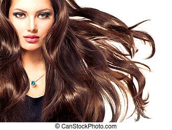 modelo, niña, retrato, con, largo, soplar, pelo