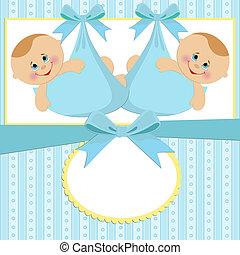 modelo, para, bebê, cartão postal