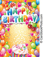modelo, para, feliz aniversário, cartão, com, lugar, para,...