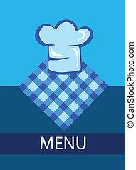 modelo, para, menu restaurante, com, chapéu cozinheiro