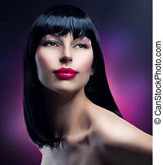modelo, portrait., hairstyle., hermoso, morena, niña