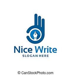modelo, projetos, agradável, dedo, escreva, logotipo, -, vetorial