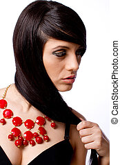modelo, retrato, con, joyas