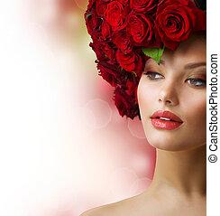 modelo, retrato, con, rosas rojas, pelo