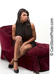 modelo, sofá, americano, afro, fascinante, mulher, vermelho