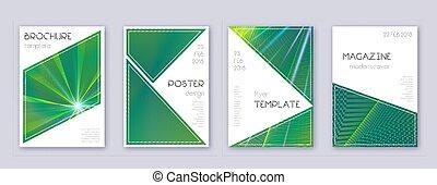 modelo, triangulo, folheto, set., desenho, verde, abstr