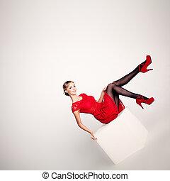 modelo, vestido, mulher, vermelho, bonito, moda