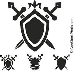 modelos, agasalho, cavaleiro, escudo, braços
