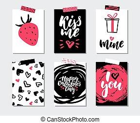 modelos, amor, presente, printable, set., valentines, quotes., mão, vetorial, cartão, desenhado, dia, lettering, textura
