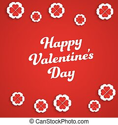 modelos, branca, hearts-flowers., fundo, vermelho