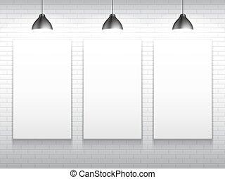 modelos, cartaz, branca, três, em branco