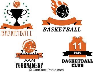 modelos, clube, basquetebol, emblema, torneio