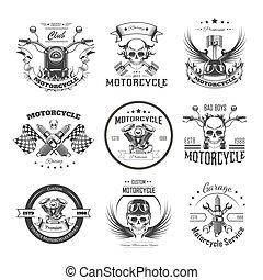 modelos, clube, bikers, motocicleta, logotipo, ou