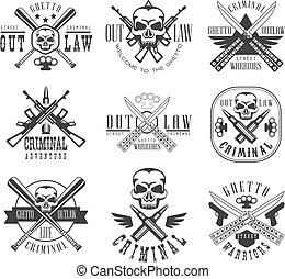 modelos, clube, texto, bandido, sinal, silhuetas, rua, pretas, desenho, branca, criminal, arma
