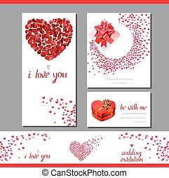 modelos, com, coração, feito, de, rosa vermelha, petals., frase, i, amor, you., símbolos, de, amor, para, romanticos, desenho, convites casamento, advertisement.