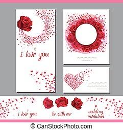 modelos, com, rosas, e, pequeno, hearts., frase, i, amor, you., símbolos, de, amor, para, romanticos, desenho, convites casamento, advertisement.