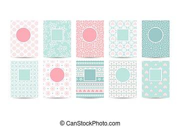 modelos, cor-de-rosa, romanticos, cartão, padrões