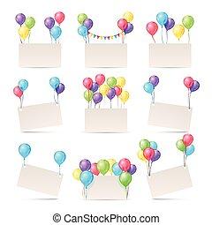 modelos, cor, saudação, em branco, cartões, bandeiras, balões