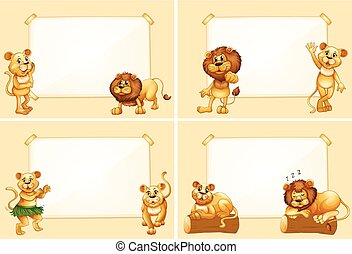 modelos, cute, borda, leões, quatro