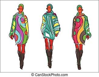 modelos, esboço, moda, mulheres