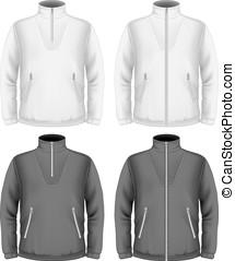 modelos, fleece, homens, desenho, suéter
