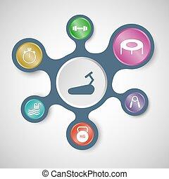 modelos, infographic, conectado, metaballs, condicão física