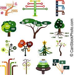 modelos, jogo, árvore, infographic, vetorial, desenho