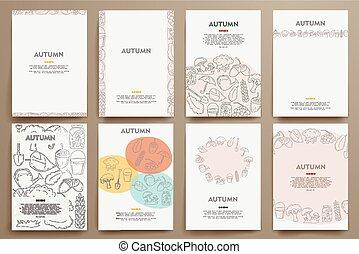 modelos, jogo, outono, tema, vetorial, doodles, identidade incorporada