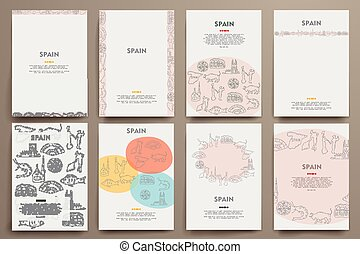 modelos, jogo, tema, vetorial, identidade, doodles, incorporado, espanha