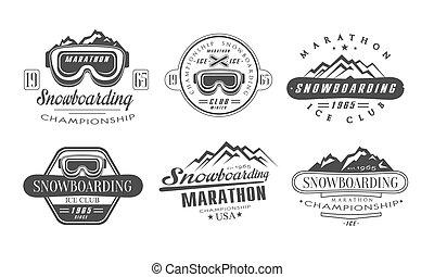 modelos, jogo, vindima, etiquetas, campeonato, ilustração, clube, vetorial, snowboarding, gelo, logotipo, monocromático, maratona, retro