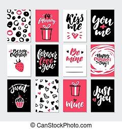 modelos, lettering, presente, printable, set., valentines, mão, vetorial, desenhado, dia, cartão