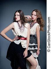 modelos, moda, posar