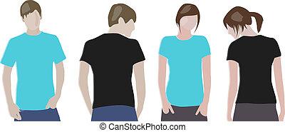 modelos, &, modelos, t-shirt, (front, desenho, femininas, back), laranja, pretas, macho