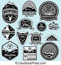 modelos, montanhas, diferente, jogo, emblemas