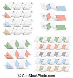 modelos, origami, bandeiras, desenho, infographics
