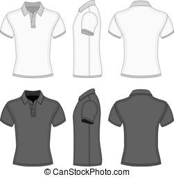 modelos, pólo, t-shirt, camisa, homens, desenho