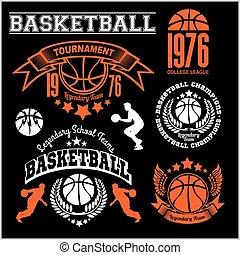 modelos, projetos, basquetebol, emblema, jogo, experiência preta, coleções, logotipo