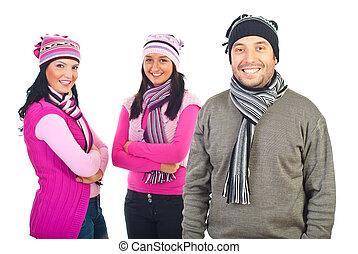 modelos, roupas, feliz, inverno, três