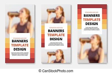 modelos, teia, linhas verticais, text., foto, lugar, orange-red, bandeiras, branca, retângulo