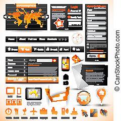 modelos, teia, prêmio, elements., ícones, gráficos, ...