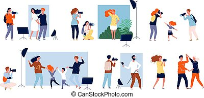 Models photosesion. Photographers at work making photo in studio dslr camera vector people collection