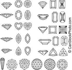 modeluje, diament, komplet, wireframe