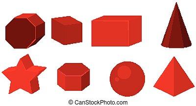 modeluje, geometria, czerwony, komplet