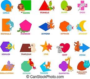 modeluje, geometryczny, dzieciaki, zwierzęta, podstawowy