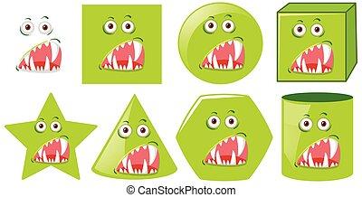 modeluje, komplet, zielony potwór, twarz