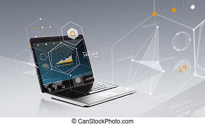 modeluje, laptop komputer, wykres, geometryczny